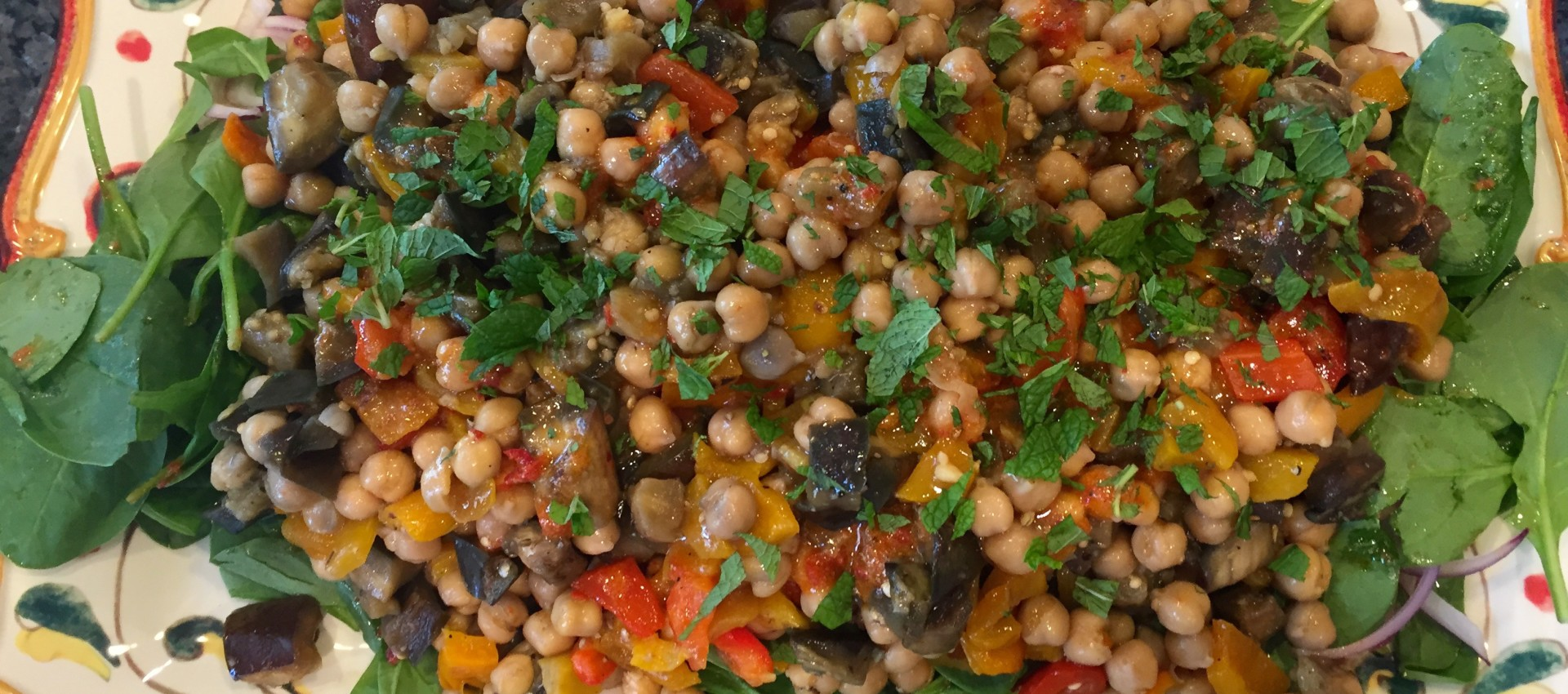 Chickpea, Red Pepper, & Spinach Salad with Harissa Blythes Blog