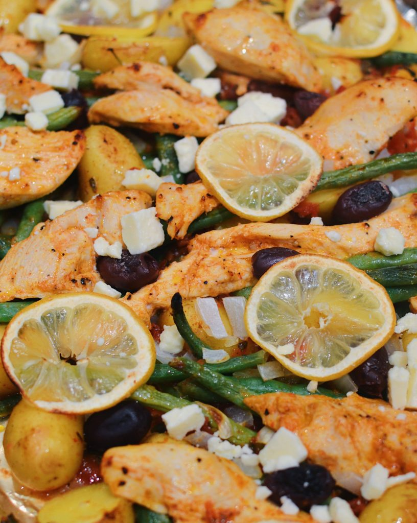 Greek Chicken Sheet Pan Dinner With Green Beans And Feta Blythes Blog